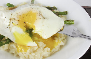 asparagus risotto with soft fried egg
