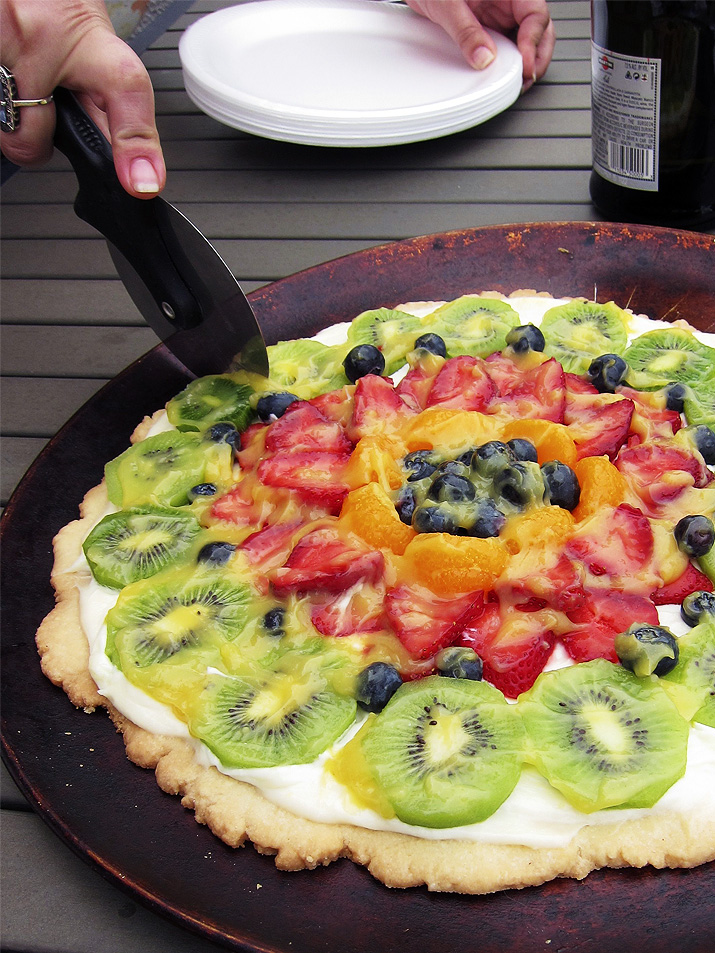 Fruit Pizza: Your favorite fruits, like juicy strawberries, blueberries and kiwi on a crisp, buttery shortbread crust.