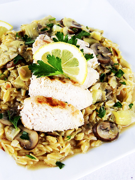 chicken with artichoke, mushroom lemon sauce