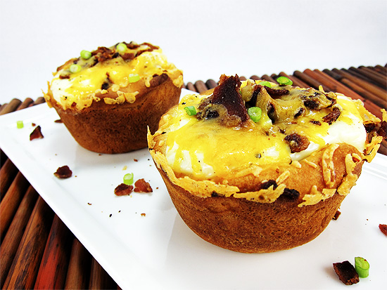 egg biscuit with cheese and bacon