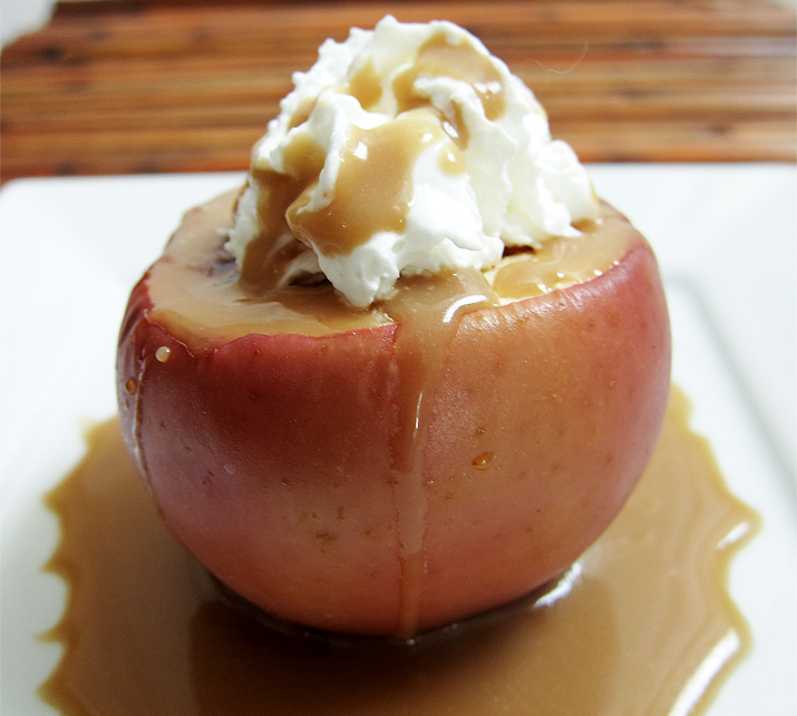 Baked Apple with Caramel Sauce