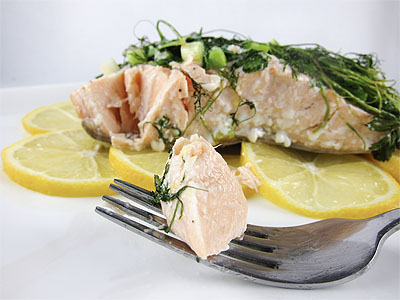 salmon with green herbs