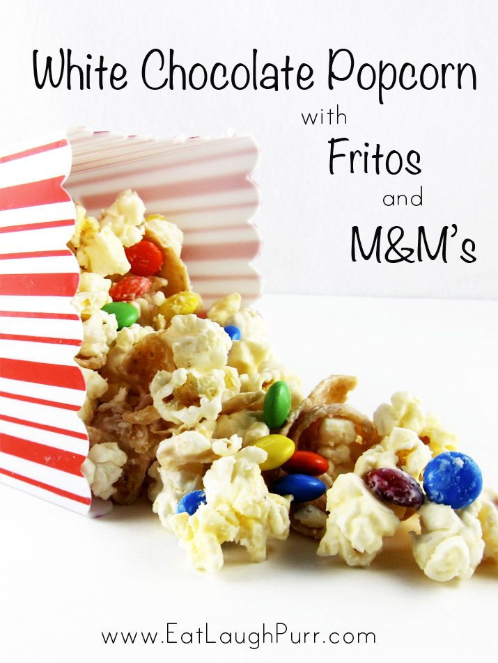 White Chocolate Popcorn with Fritos and M&Ms | www.EatLaughPurr.com