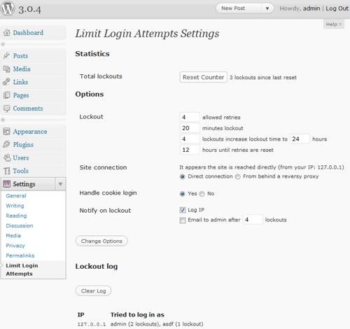 Limit Logins Attempt Screenshot