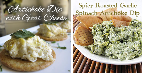 Artichoke Dip with Goat Cheese and Spicy Roasted Garlic Spinach Artichoke Dip