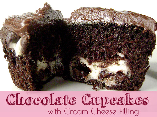 Chocolate Cupcakes with Cream Cheese Filling #cupcakes #chocolate #creamcheese