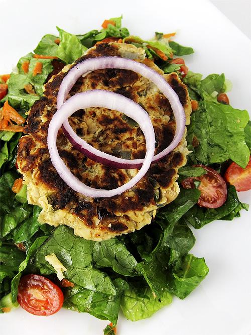 Sweet Potato Chickpea Veggie Burger over Lettuce