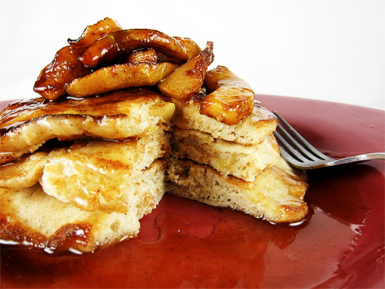 apple pancaked with apple cider syrup