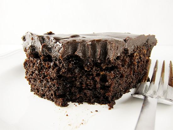 one bowl chocolate cake with chocolate ganache