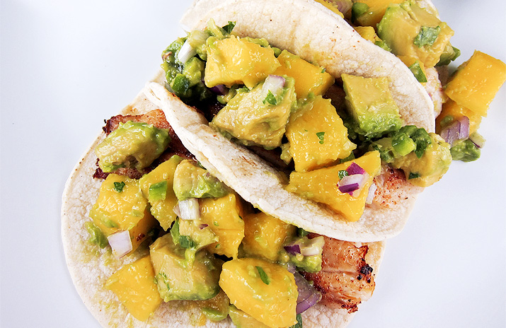 Fish Tacos with Mango Avocado Salsa