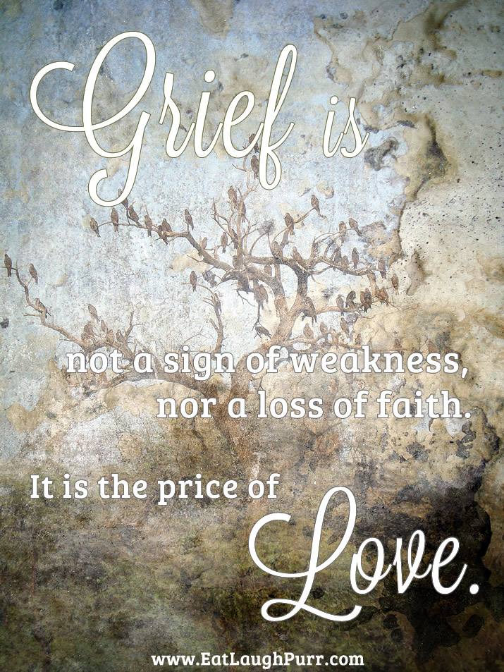 Grief is not a sign of weakness or loss of faith. It is the price of Love.