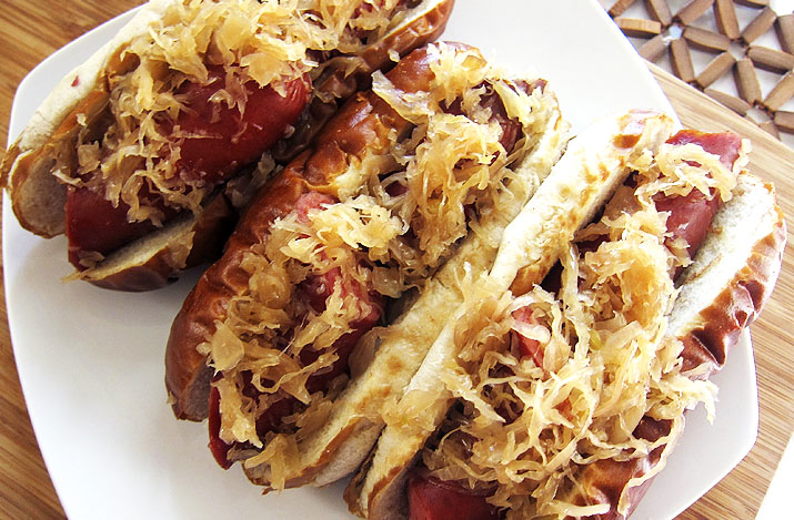beer braised sausage and kraut