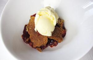 Cherry Dessert with Vanilla Ice Cream