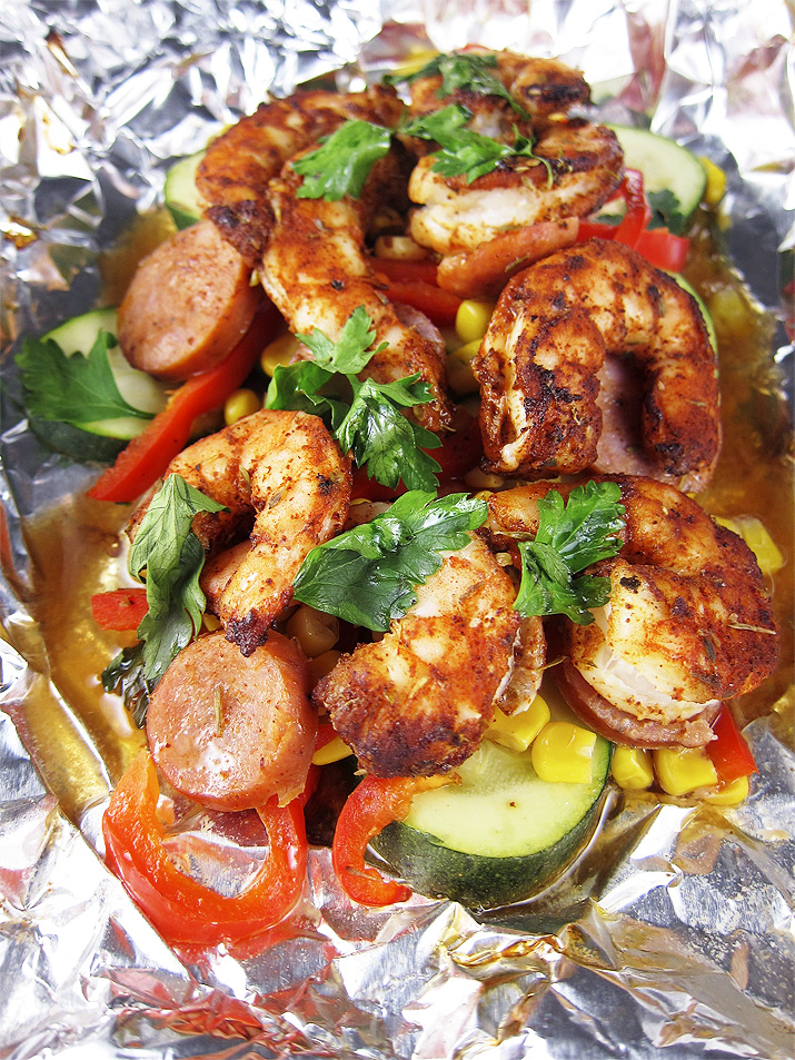 Cajun Shrimp and Sausage in Foil