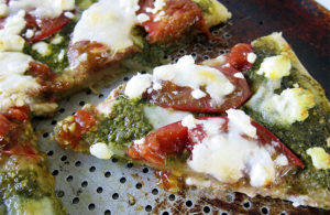 Pesto Pizza with Heirloom Tomatoes, Goat Cheese and Mozzarella