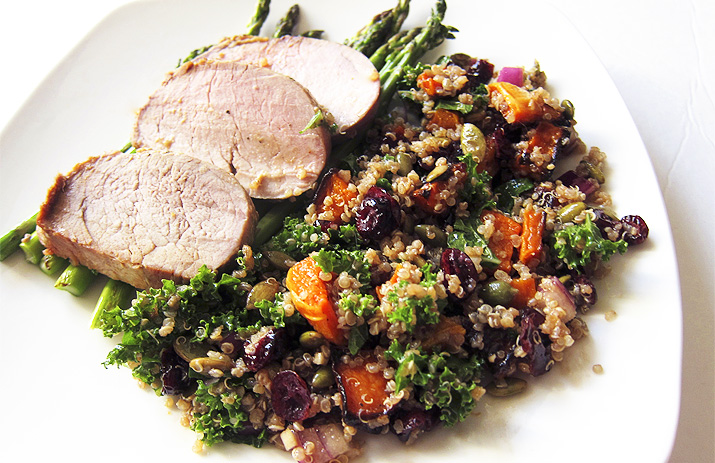 Autumn Salad with Quinoa, Roasted Butternut Squash, Kale and Cranberries