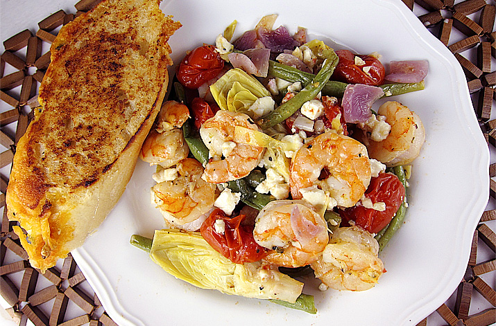 One Pan Mediterranean Shrimp Bake